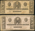Confederate Notes:1862 Issues, T55 $1 1862 Two Examples Fine or Better.. ... (Total: 2 notes)