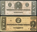 Confederate Notes:1864 Issues, T70 $2 1864 Very Fine-Extremely Fine;. T71 $1 1864 Crisp Uncirculated.. ... (Total: 2 notes)