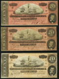Confederate Notes:1864 Issues, T67 $20 1864 Three Examples Very Fine or Better.. ... (Total: 3 notes)