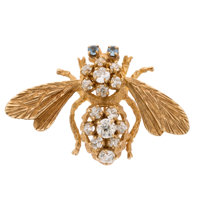Diamond, Topaz, Gold Brooch
