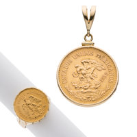 Gold Coin, Gold Jewelry Lot ... (Total: 2 Items)