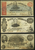 Obsoletes By State:Louisiana, Shreveport, LA- State of Louisiana $20; $50; $100 Mar. 10, 1863 Cr. 13; Cr. 12; Cr. 11 Very Fine or Better.. ... (Total: 3 notes)