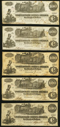 Confederate Notes:1862 Issues, T39 $100 1862 Five Examples Very Fine.. ... (Total: 5 notes)