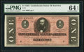 Confederate Notes:1864 Issues, T71 $1 1864 PF-4 Cr. 577 PMG Choice Uncirculated 64 EPQ.. ...