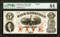 Knoxville, TN- Bank of Knoxville $5 Sep. 1, 1856 as G8a as Garland 396 S-C K-B.K-5-2aPf PMG Choice Unci