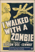 """Movie Posters:Horror, I Walked with a Zombie (RKO, R-1952). Fine+ on Linen. One Sheet (27.5"""" X 41""""). Horror.. ..."""
