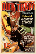 "Movie Posters:Serial, Dick Tracy (Republic, 1937). Fine+ on Linen. One Sheet (27"" X 41""). Episode 1 - ""The Spider Strikes."". ..."