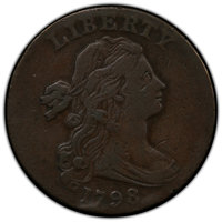 1798 1C Second Hair Style -- Scratch -- PCGS Genuine. VF Details....(PCGS# 1434)