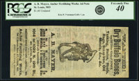 St. Louis & Lowell, MO- A. B. Mayer-Anchor Fertilizing Works Undated (1870s) Advertising Note. PCGS Extremely Fine 4...