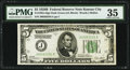 Fr. 1952-J $5 1928B Dark Green Seal Federal Reserve Note. PMG Choice Very Fine 35