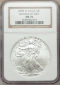2008-W $1 Silver Eagle, Reverse of 2007, Burnished, MS70 NGC. NGC Census: (4940). PCGS Population: (602). 70....(PCGS# 3...