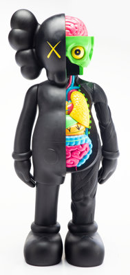 KAWS (b. 1974) 4FT Dissected Companion (Black), early 21st century Fiber-reinforced plastic 50 x