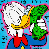 Alec Monopoly (b. 1986) Scrooge McDuck, c. 2013 Acrylic and spray paint on canvas 60 x 60 inches