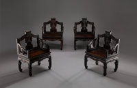 A Set of Four Large Chinese Carved Zitan Armchairs, Qing Dynasty, 19th century 39-3/4 x 28-1/4 x 18-1/4 inches (10... (T...