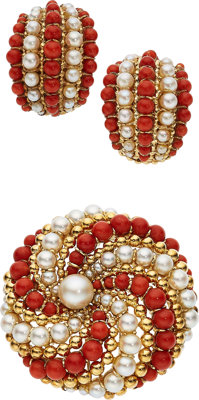 Coral, Cultured Pearl, Gold Jewelry, Van Cleef & Arpels, French ... (Total: 2 Items)