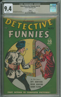 Keen Detective Funnies V2#5 - Larson (Centaur, 1939) CGC NM 9.4 White pages