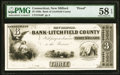 New Milford, CT- Bank of Litchfield County $3 18__ as G6 Proof PMG Choice About Unc 58 EPQ