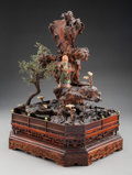 Carvings, An Unusual Chinese Carved Hardwood Diorama of Shoulao in a Landscape. 19-5/8 x 15 x 13-1/2 inches (49.8 x 38.1 x 34.3 cm). ...