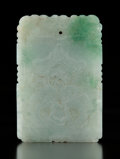 Carvings, A Chinese Pale Celadon Jadeite Plaque . 2-3/8 x 1-5/8 x 0-1/4 inches (6 x 4.1 x 0.6 cm). ...