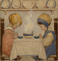 Paintings, Jessie Willcox Smith (American, 1863-1935). Saying Grace, Good Housekeeping cover, November 1920. Watercolor, oil, and c...