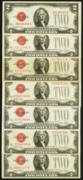 Fr. 1508 $2 1928G Legal Tender Notes. Seven Examples. Fine-Very Fine or Better. ... (Total: 7 notes)