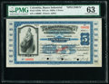 Colombia Banco Industrial 5 Pesos ND (ca. 1920s) Pick S556s Specimen PMG Choice Uncirculated 63