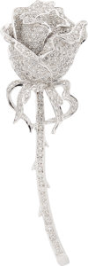 Estate Jewelry:Brooches - Pins, Diamond, White Gold Brooch . ...