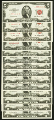 Fr. 1509 $2 1953 Legal Tender Notes. Fourteen Examples. Crisp Uncirculated