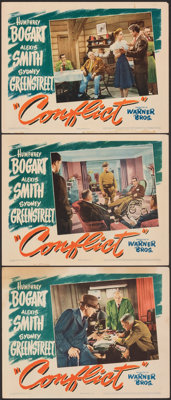 """Conflict (Warner Bros., 1945). Very Fine-. Lobby Cards (3) (11"""" X 14""""). Film Noir. ... (Total: 3 Items)"""