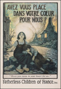 "Movie Posters:War, World War I Propaganda (Fatherless Children of France, c. 1917). Fine- on Linen. Poster (20.25"" X 29.75"") ""Have You R..."