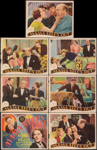 """Mama Steps Out (MGM, 1937). Fine+. Trimmed Title Lobby Card & Trimmed Lobby Cards (6) (10.75"""" X 13.75""""). C..."""