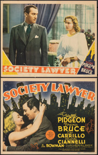 """Society Lawyer (MGM, 1939). Fine+. Trimmed Title Lobby Card & Trimmed Lobby Card (10.75"""" X 13.5""""). Romance..."""