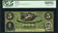 Macon, GA- Manufacturers Bank $5 May 1, 1862 PCGS Choice About New 58PPQ