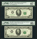 Fr. 2067-A; L $20 1969 Federal Reserve Notes. PMG Graded Superb Gem Unc 67 EPQ; Gem Uncirculated 65 EPQ. ... (Total: 2 n...