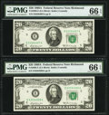 Fr. 2068-E $20 1969A Federal Reserve Notes. Two Consecutive Examples. PMG Gem Uncirculated 66 EPQ. ... (Total: 2 notes)
