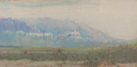 Frank Reaugh (American, 1860-1945) Blue Skirts Pastel on paper board 4-1/2 x 9-1/2 inches (11.4 x