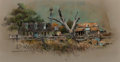 """Works on Paper, Edward Muegge """"Buck"""" Schiwetz (American, 1898-1984). Abandoned Farm out of Winchester, Texas, 1978. Mixed media on paper..."""