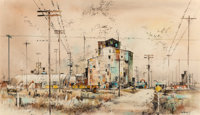 "Edward Muegge ""Buck"" Schiwetz (American, 1898-1984) Main Street, 1963 Watercolor on paper 14-1/2"