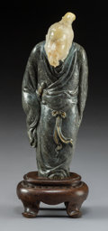 Carvings, A Fine Chinese Carved Black and White Soapstone Figure of a Scholar in Han Attire, Qing Dynasty. 6-3/8 x 2-1/2 x 2-1/2 inche...