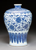 Ceramics & Porcelain, A Fine Chinese Ming-Style Blue and White Porcelain Meiping Vase, Qing Dynasty, 18th century. 13 inches (33.0 cm). ...