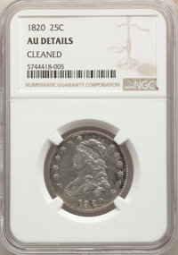 1820 25C Large 0 -- Cleaned -- NGC Details. AU....(PCGS# 5329)
