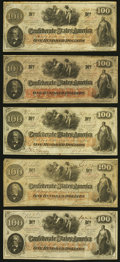 Confederate Notes:1862 Issues, T41 $100 1862 Five Examples Fine or Better.. ... (Total: 5 notes)
