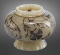 Carvings, A Mughal-style Silver-Inlaid and Carved Pale Celadon Jade Footed Vessel. 2-3/8 x 3 inches (6.0 x 7.6 cm). ...