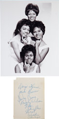 Music Memorabilia:Autographs and Signed Items, The Shirelles Signed Page. ...