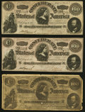 """Confederate Notes:1864 Issues, T65 $100 1864 Advertising Note Very Fine;. CT65/492 $100 1864 """"Havana"""" Counterfeit Two Examples Very Fine-Extremely Fine o... (Total: 3 notes)"""