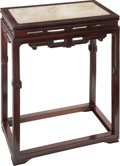 Furniture, A Chinese Marble-Inset Hardwood Incense Table. 36-1/2 x 27 x 14-3/4 inches (92.7 x 68.6 x 37.5 cm). ...