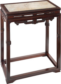 A Chinese Marble-Inset Hardwood Incense Table 36-1/2 x 27 x 14-3/4 inches (92.7 x 68.6 x 37.5 cm)