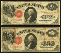 Fr. 39 $1 1917 Legal Tenders Two Examples Very Good-Fine