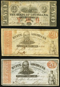 Obsoletes By State:Louisiana, Baton Rouge, LA- State of Louisiana $2 Feb 24, 1862 Fine;. Shreveport, LA- State of Louisiana $20 Mar. 10, 1863, Two... (Total: 3 notes)