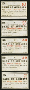 Augusta, GA- Bank of Augusta 10¢; 25¢; 50¢ (2); 75¢ Jan. 1, 1863 Remainders Very Fine-Extremely Fine...